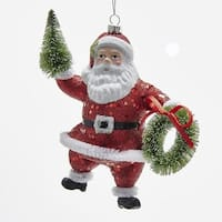 """Pack of 12 Santa Holding Tree and Wreath Christmas Ornament 5.5"""" - RED"""