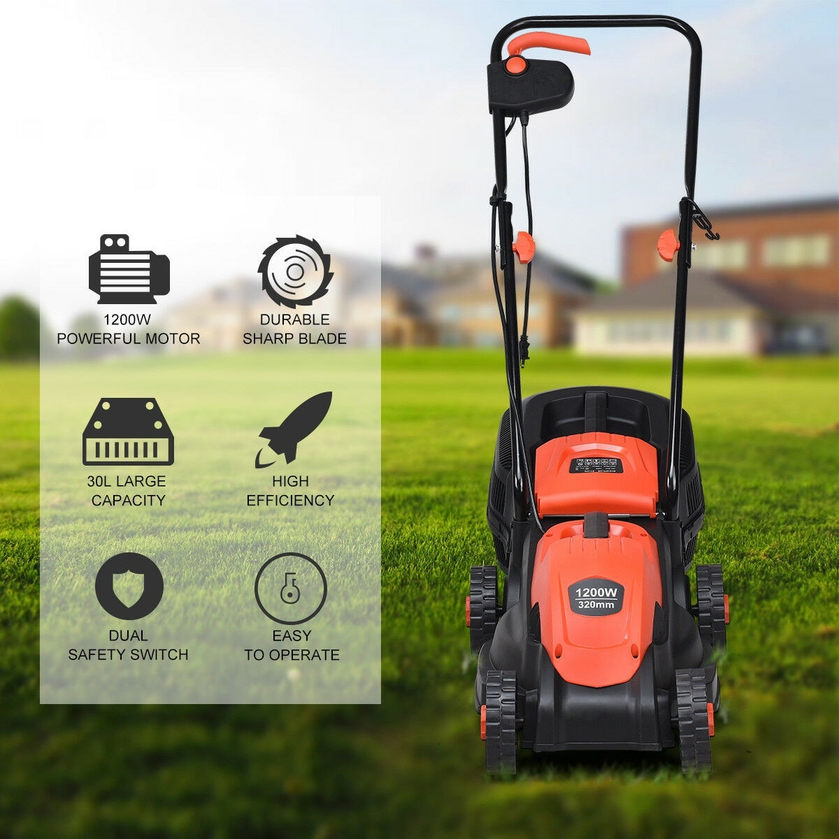 12 Amp 14-Inch Electric Push Lawn Corded Mower With Grass Bag Red