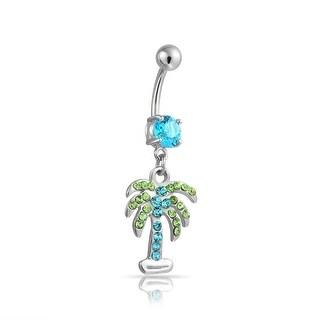 Bling Jewelry Light Blue CZ Palm Tree Belly Ring 316L Steel