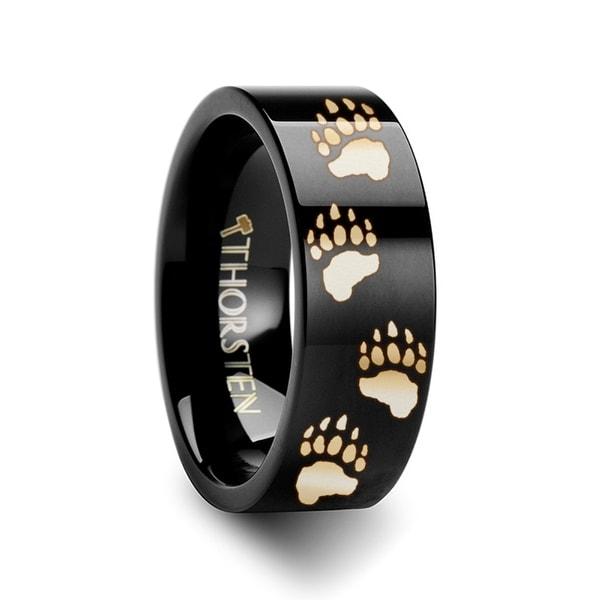THORSTEN - Animal Track Bear Paw Print Engraved Ring Black Tungsten Ring Polished- 10mm