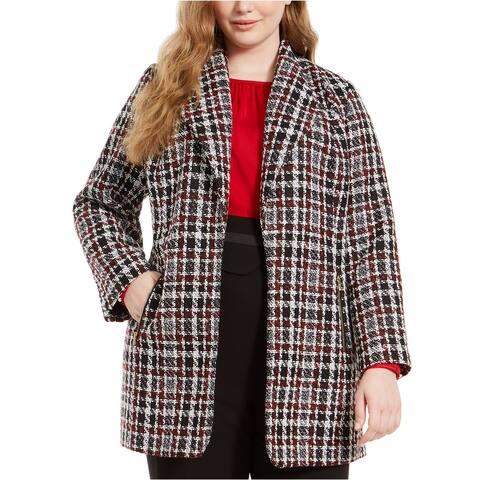 Calvin Klein Plus Women's Tweed Plaid Topper Jacket, Tweed Plaid, 16W