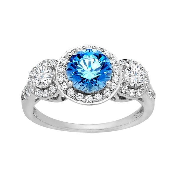 Ring with 3 5/8 ct Blue and White Cubic Zirconia in Sterling Silver