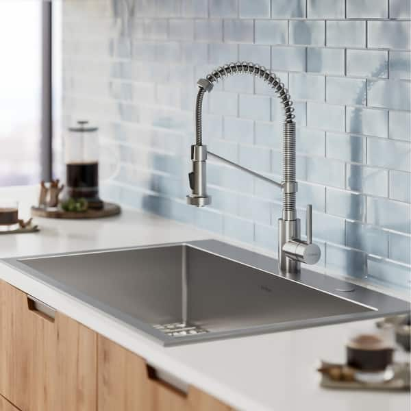 Kraus Stark 33 Inch Undermount Drop In Kitchen Sink Pulldown Faucet Combo Overstock 28626044