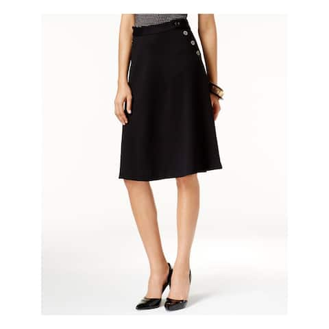 ALFANI Womens Black Zippered Knee Length A-Line Skirt Size 4