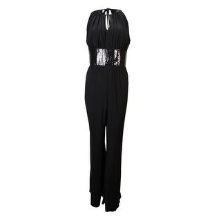 R&M Richards Women's Sequined Waist Keyhole Jersey Jumpsuit