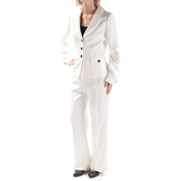 Shop Womens Ivory Evening Straight Leg Pant Suit Size 6 On Sale
