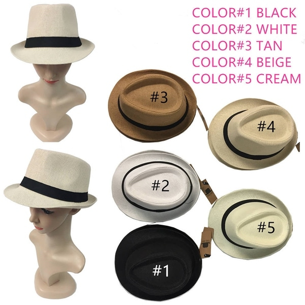 5650856e74e Straw Fedora Hat Trilby Cuban Cap Summer Beach Sun Panama Short Brim Men  Women