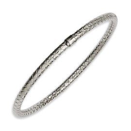 Chisel Stainless Steel Textured & Polished Hollow Slip-on Bangle