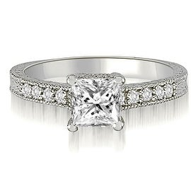 0.65 cttw. 14K White Gold Milgrain Princess And Round Diamond Engagement Ring