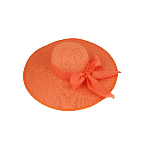 Lady Outdoor Textured Wide Brim Holiday Beach Straw Sun Hat Orange - One Size