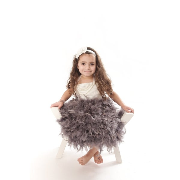 6a42583245815 Girls Pewter Gray White Feather Pearl Halter Special Occasion Dress 6-11Y