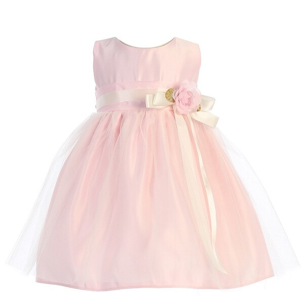 Sweet Kids Baby Girls Pink Floral Embellished Flower Girl Dress 6-24M