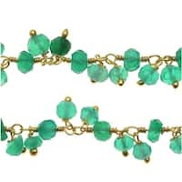 Green Onyx Gemstone Drops Gold Vermeil Wire Wrapped Chain 3mm Rondelles - By The Inch