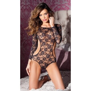 Open Back Floral Lace Teddy, Long Sleeve Floral Lace Teddy With Open Back And Sides