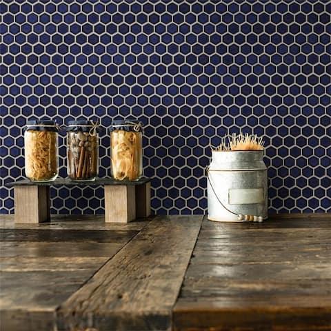 "SomerTile Tribeca Hex 1"" Glossy Cobalt 11"" x 12"" Porcelain Mosaic Tile"