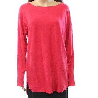 INC NEW Pink Womens Size Medium M Boat Neck Tunic Dolman Sleeve Sweater