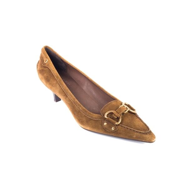 Shop Car Shoe By Prada Brown Suede Buckled Kitten Heel Pumps