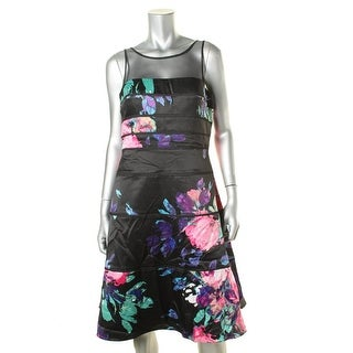 Aidan Mattox Womens Floral Print Mesh Inset Cocktail Dress