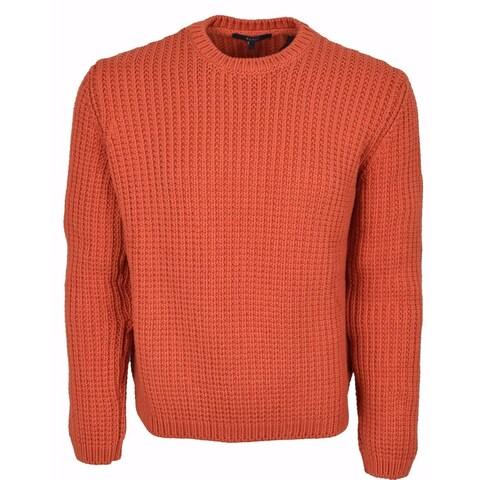 Gucci Men's Heavy Orange Ribbed Tab Logo Cotton Sweater Shirt XL