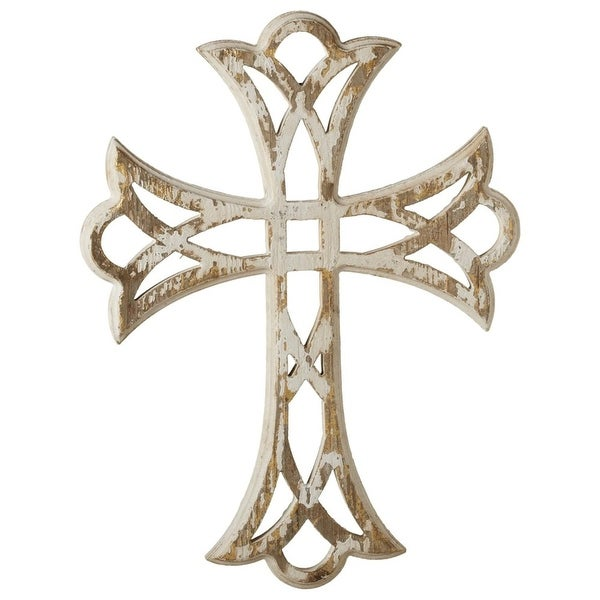 Set of 2 Distressed White with Gold Decorative Cross Wall Decor ...