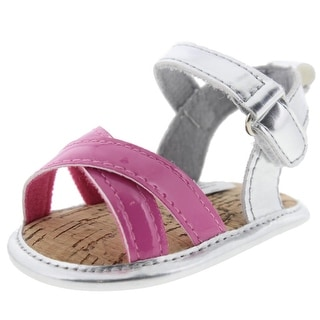 Luvable Friends Infant Girls Metallic Strappy Sandals