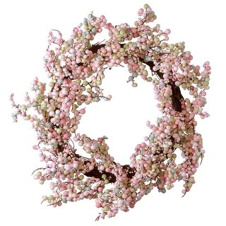 Pink Berry Artificial Wreath - 16-Inch, Unlit - N/A