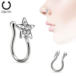 Star with Gems Gold IP Non Piercing Nose Clip (Sold Individually)