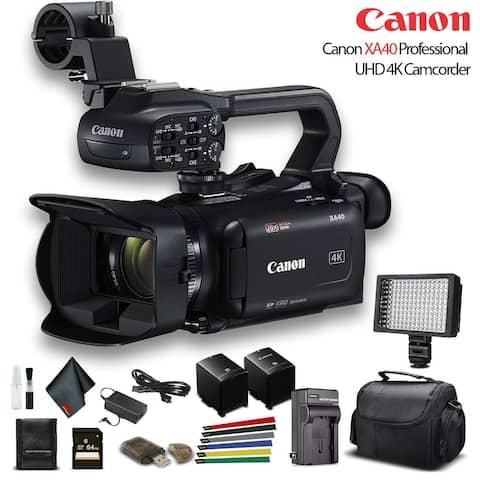 Canon XA40 Professional UHD 4K Camcorder W/ Extra Battery - Base Bundle