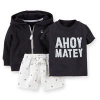 Carter's Baby Boys' 3 Piece Ahoy Matey French Terry Cardigan Set