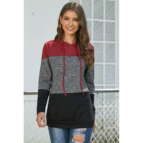 Cali Chic Women's Sweatshirt Hoodie Celebrity Red Color Block Long Sleeve Pullover Knit Hoodie