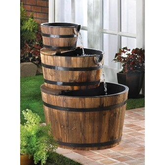 Zingz Thingz 57070013 Rustic Look Whiskey Barrel Cascading Waterfall Fountain