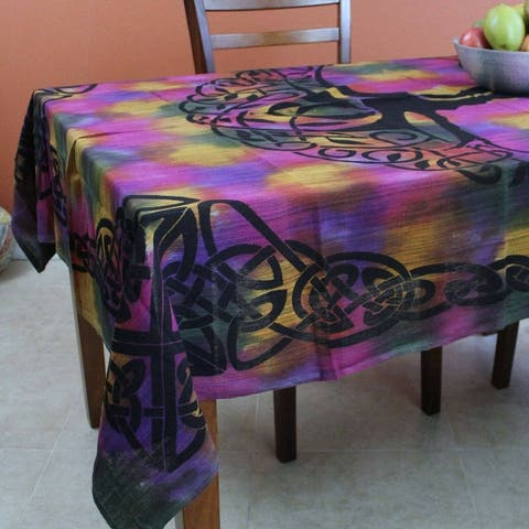 Cotton Tree of life Tablecloth Rectangle Celtic Tapestry Bedspread Blue Green Purple Tan with Fringes