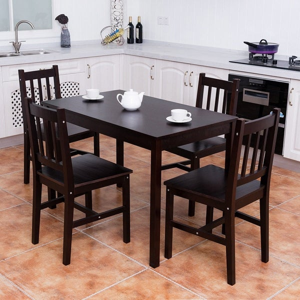 Kitchen Furniture: Shop Costway 5PCS Solid Pine Wood Dining Set Table And 4
