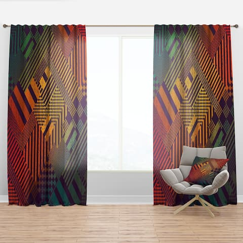 Designart 'Grungy Geometric abstract in Green, Yellow and Blue' Modern Curtain Panel