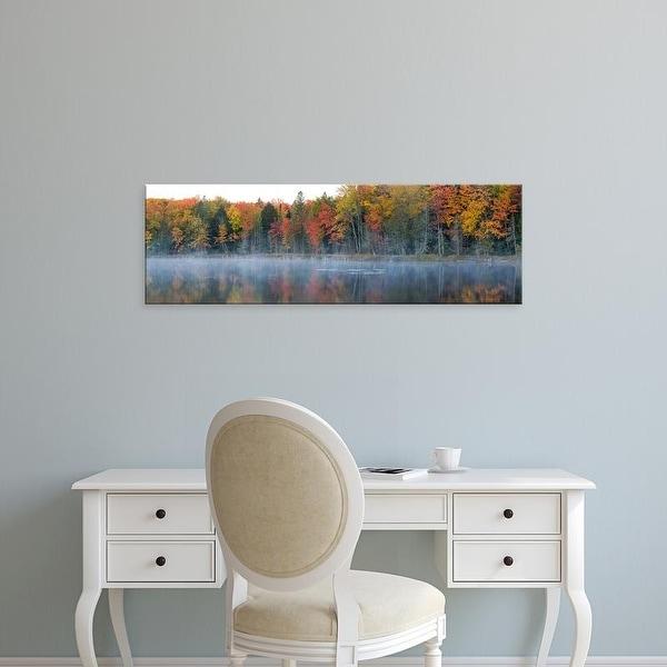 Easy Art Prints Panoramic Image 'Trees in autumn at Lake Hiawatha, Alger County, Upper Peninsula, Michigan' Canvas Art