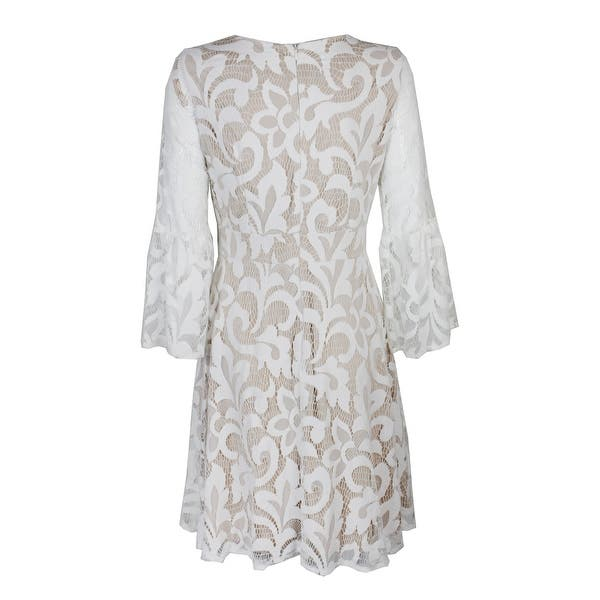 Shop Jessica Howard Ivory Lace Bell Sleeve Lace Fit Flare