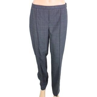 Elie Tahari NEW Gray Women's Size 10 Flat Front Plaid Slim Dress Pants