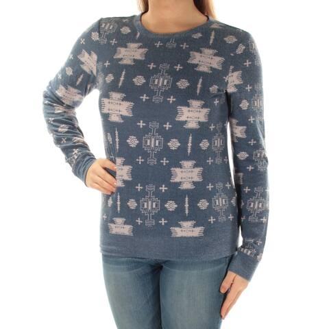 CELEBRITY PINK Womens Navy Tribal Long Sleeve Jewel Neck Sweater Juniors Size: M