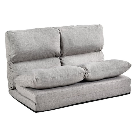 Merax Small Space 5-position Adjustable/Folding Floor Loveseat with 2 Pillows