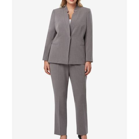 Tahari By ASL Womens Pant Suit Gray Size 16W Plus Snap Button Closure