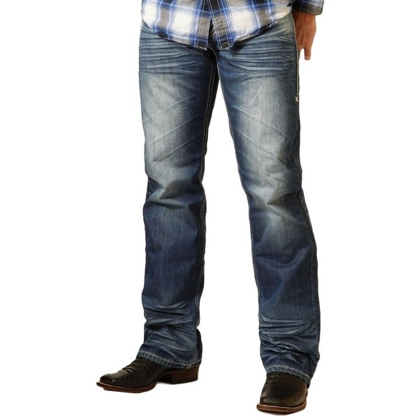 B. Tuff Western Denim Jeans Mens Turbo Whiskering Bootcut Blue
