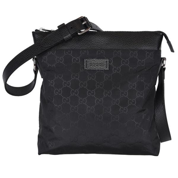b9437285f Gucci 510342 Black Nylon Leather GG Guccissima Crossbody Messenger Purse Bag