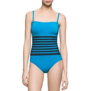 Calvin Klein Womens Mesh Inset Bandeau One-Piece Swimsuit Cyan Blue