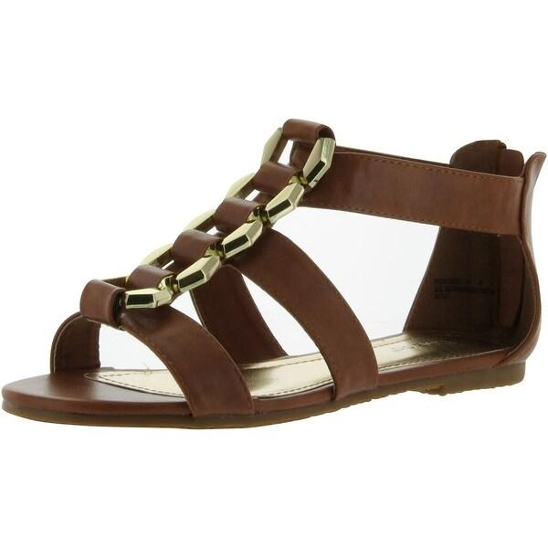 Bamboo Womens Fenchel-13 Fashion Strappy Flat Sandals - Chestnut
