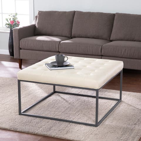 Strick & Bolton Healy Leather Tufted Ottoman