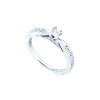 14k White Gold Princess Diamond Solitaire Channel-Set Womens Bridal Wedding Engagement Ring 1/4 Cttw