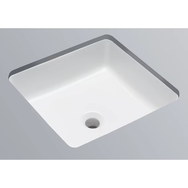 """Mirabelle MIRU1616 16-1/4"""" Square Porcelain Undermount Bathroom Sink with Concealed Overflow - White"""