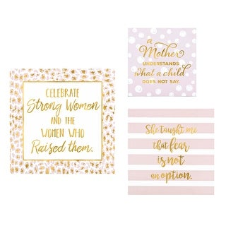 """Set of 3 White and Gold Color Inspirational Hand-Lettered Quoted Wall Decor 12"""" - N/A"""