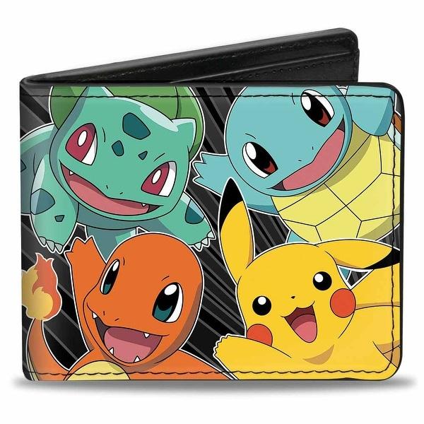 Kanto Starter Pokmon & Pikachu Pokmon Logo Rays Black Gray Bi Fold Wallet - One Size Fits most