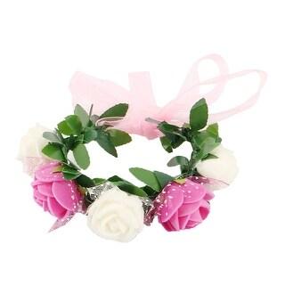 Wedding Foam Adjustable Artificial Rose Flower Hand Bracelet Wreath Garland - MultiColor